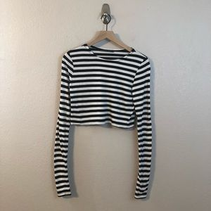 Zara Black & White Long Sleeve Stripe Crop Top